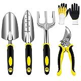 AGAKY Gartenwerkzeug Set, Gartengeräte Set aus Edelstahl, Gartenset Werkzeug mit Gartenschere, Handkelle, Pflanzkelle, Harke, handschuhen*
