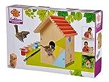 Eichhorn 100004581 Outdoor-100004581-Vogelhaus aus Holz, zum Zusammenbauen und Bemalen, inkl. Pinsel und Farben, 14x14x24cm Lindenholz, DIY, Bunt