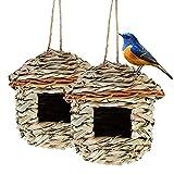 Hywean 2 Stück Vogelnester für den Innen- oder Außenbereich, Handgewebtes Vogelhaus für Kleine Vögel wie Kolibris und Titten