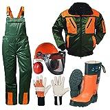 ATS Forstschutz Set 5 teilig KWF geprüfte Schnittschutzhose + Schnittschutzstiefel +Forsthelm +Jacke