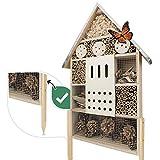 Wildlife Friend | Insektenhotel XL mit Standfuß & Zink-Dach - Unbehandelt, Insektenhaus für Bienen, Marienkäfer & Schmetterlinge, Bienenhotel & Nisthilfe zum Aufhängen oder Aufstellen, 76cm
