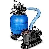 tillvex Sandfilteranlage 10 m³/h - Filteranlage 5-Wege Ventil | Poolfilter mit Druckanzeige | Sandfilter für Pool und Schwimmbecken (Blau)