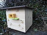 XXXL luxus Hummelkasten mit Wachsmottensperre, 2x Sichtfenster und Nistmaterial Imprägniert Wetterfest Bienenhaus Hummelhaus Nistkasten Hummelvilla Bienen Insektenhaus 🐝*