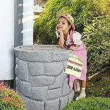 SONDERPREIS! Regentonne Regenfass Regenspeicher Regenwassertonne Märchenbrunnen 330l mit Wasserhahn und stabilem Deckel (granit-grau)