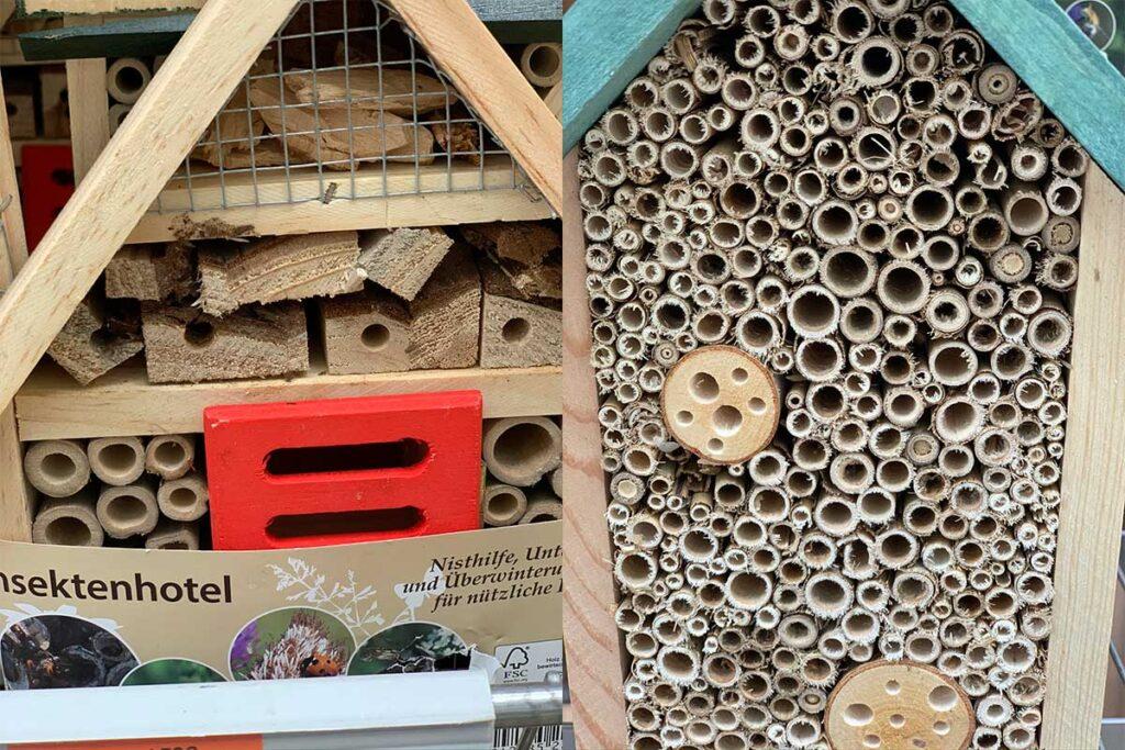 Typische Insektenhotels, wie sie im Baumarkt oder Discounter und vielen Onlineshops angeboten werden - leider mit erheblicher Verletzungsgefahr für die Insekten.